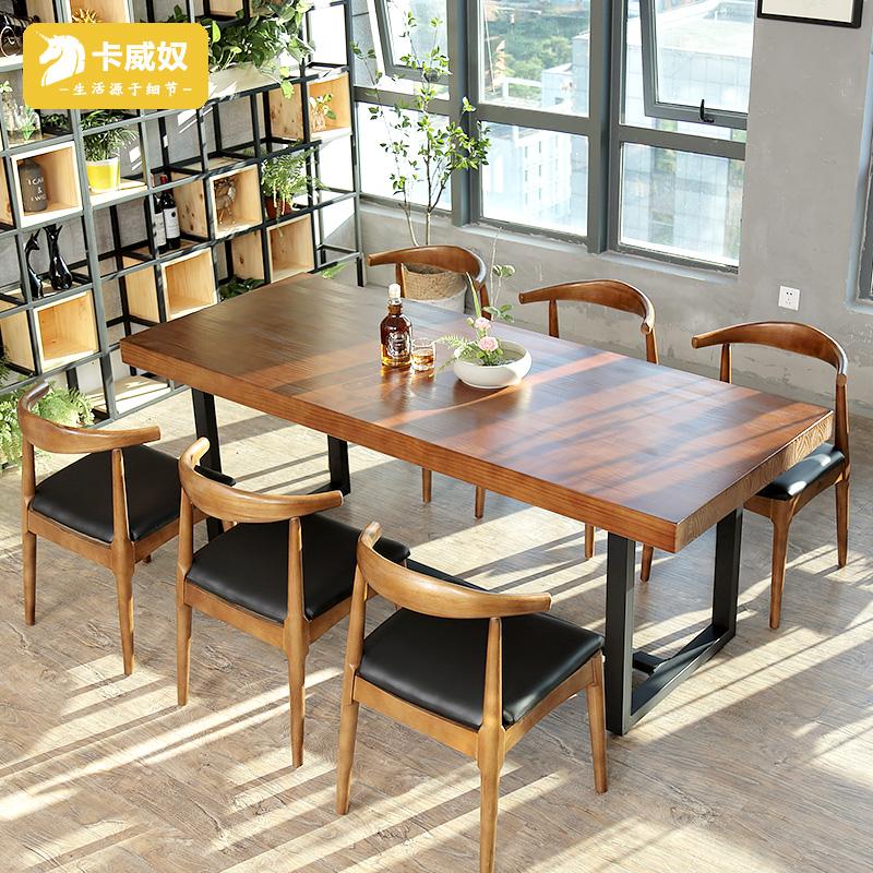 Лофт из цельного дерева конференц-стол длинный стол простой поколение Стол для дискуссионного стола и кресла