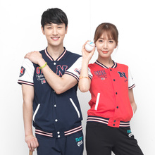 N + a Nadia bomber men's and women's short sleeve couple simple cardigan T-shirt pi21859