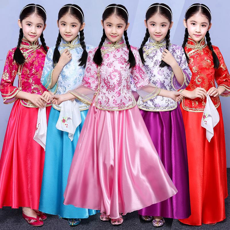 儿童古装民国风姐妹团戏服小姐装中式婚礼花童礼服古筝演出服女
