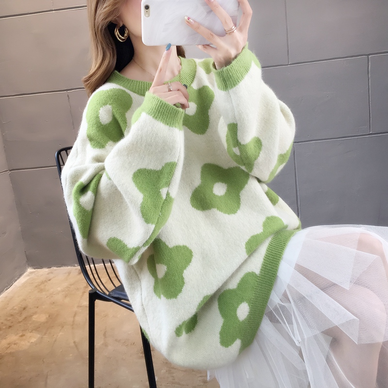 Autumn dress women 2020 new round neck loose Pullover fairy sweater winter lazy wind top net red sweater fashion