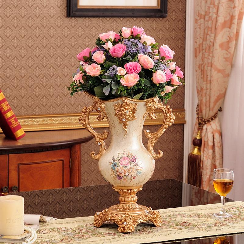 台面客厅餐桌欧式奢华复古仿真花