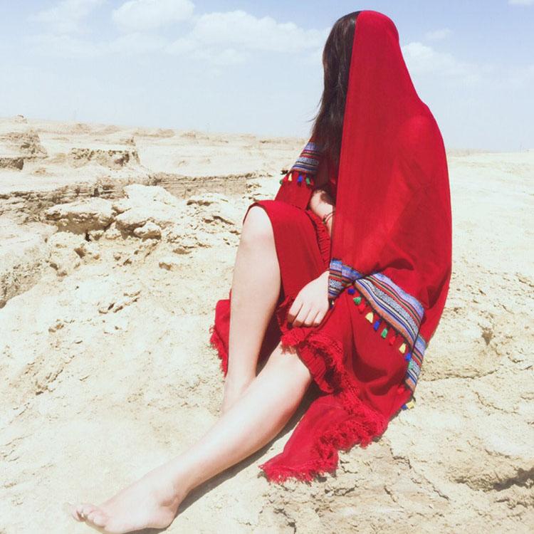 Ethnic style scarf female summer tourism sunscreen red shawl Chaka Salt Lake Yunnan desert beach Silk Scarf Shawl