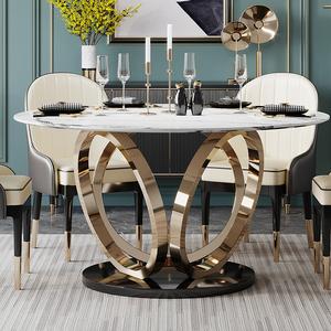 轻奢大理石餐桌家用圆形饭桌多功能餐桌椅组合北欧简约带转盘圆桌