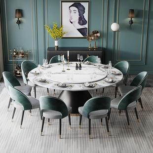 意式大理石圓桌大户型8人10人餐桌椅組合家用圓形飯桌別墅大餐桌