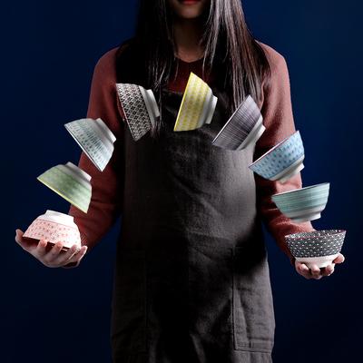 日式5寸螺纹吃饭汤碗网红家用吃饭创意个性高脚防烫小米饭陶瓷碗