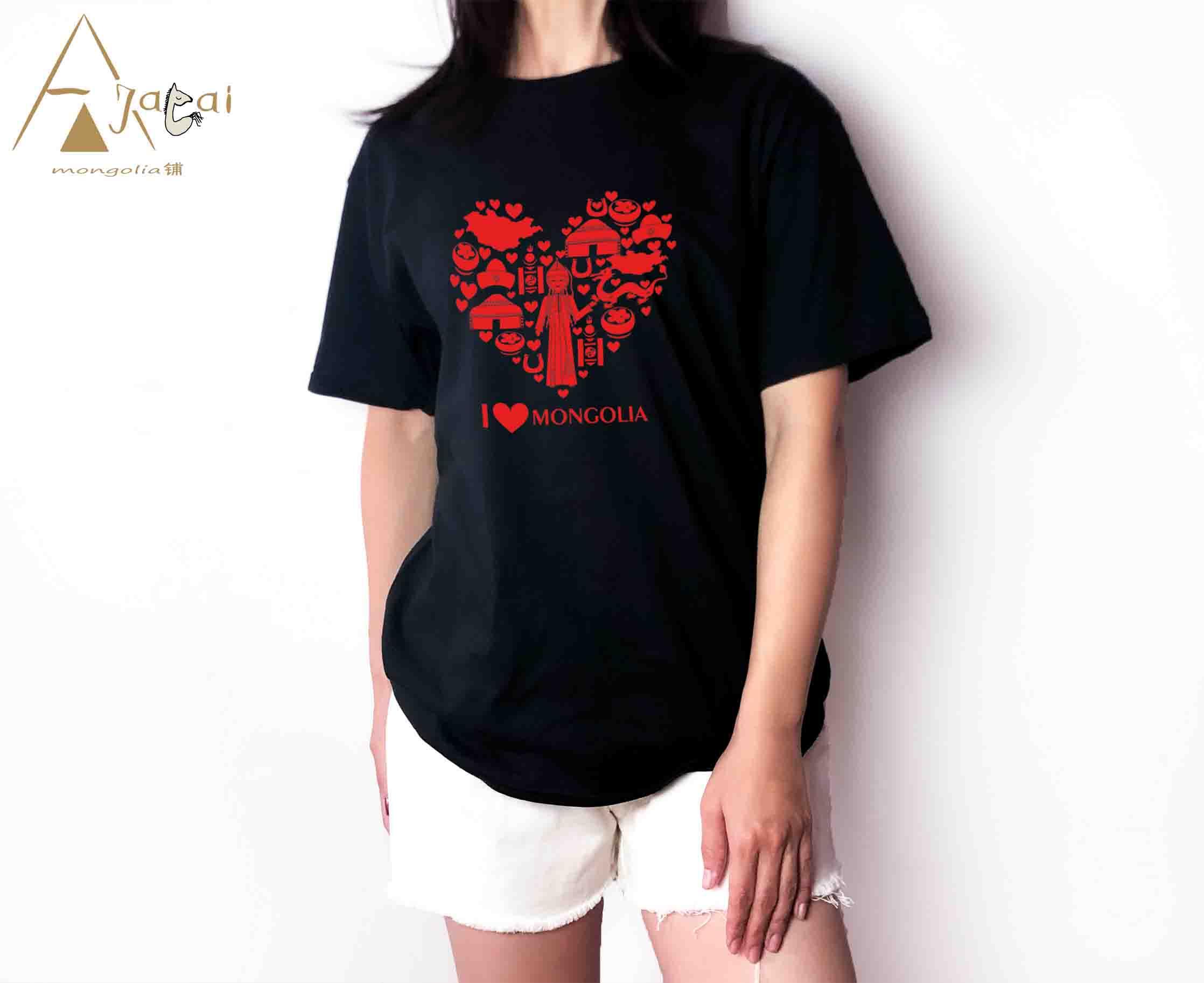 2020阿吉太新款民族风格春夏纯棉短袖个性定制蒙古元素男女T恤