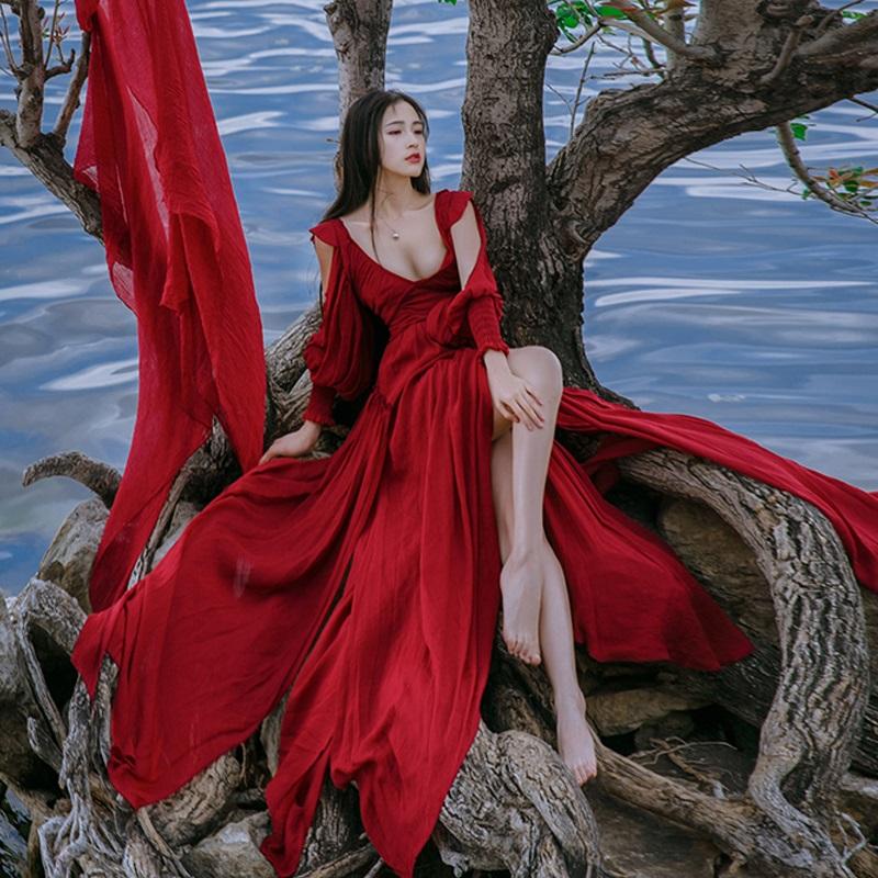 波西米亚长裙女夏2018新款海边度假连衣裙沙滩裙露背大摆仙女裙夏