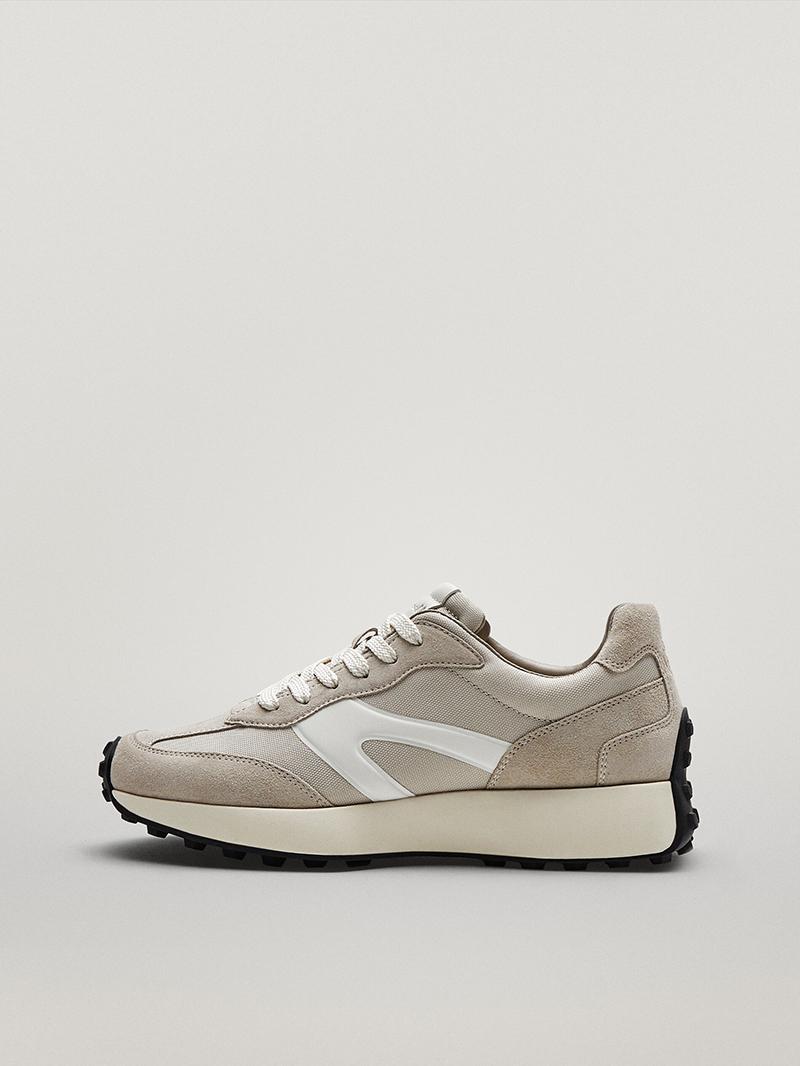 Massimo Dutti女鞋 秋季真皮女士单鞋拼色休闲运动鞋厚底老爹鞋潮