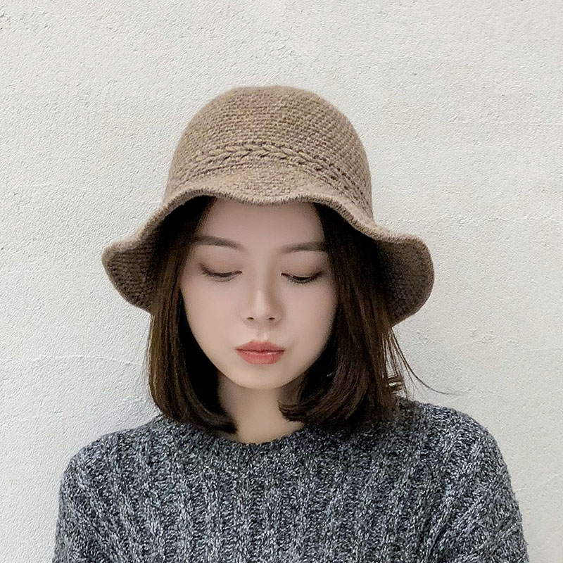 Hat Womens versatile fashion knitted hat travel Korean leisure hat fishermans hat foldable wave wide brim small basin hat