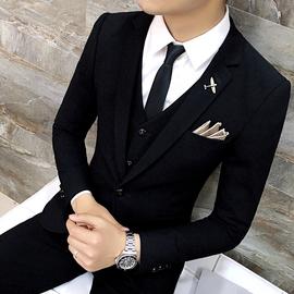 西服套装男三件套休闲黑色小西装修身韩版正装新郎帅气结婚礼服潮图片