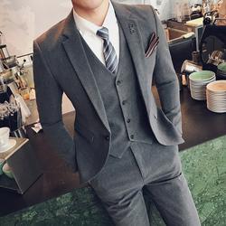西服套装男三件套休闲大码西装外套修身韩版正装新郎痞帅结婚礼服
