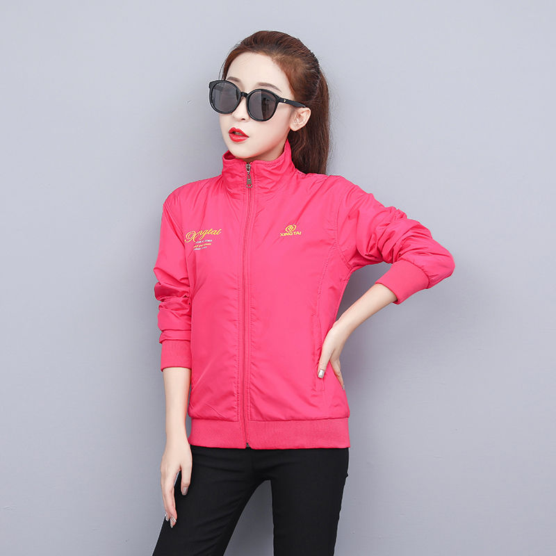 Jacket spring and autumn 2021 new Korean sports and leisure top thin womens windbreaker solid color Jacket Womens autumn