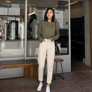 韩国白色哈伦牛仔裤女直筒宽松老爹裤春夏季韩版高腰显瘦萝卜