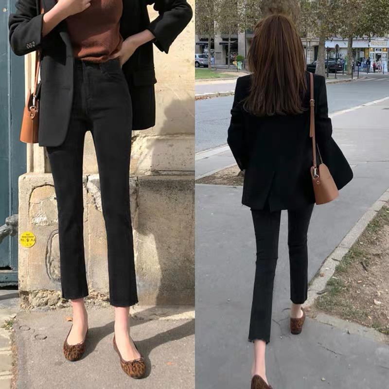 小个子烟管裤女百搭牛仔裤高腰显瘦直筒修身2021春秋新款黑色八分