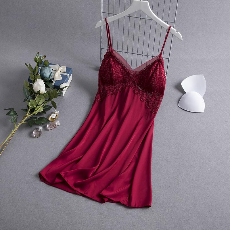 新款蕾丝吊带睡裙夏季薄款冰丝仙女带胸垫性感诱惑火辣情调睡衣女