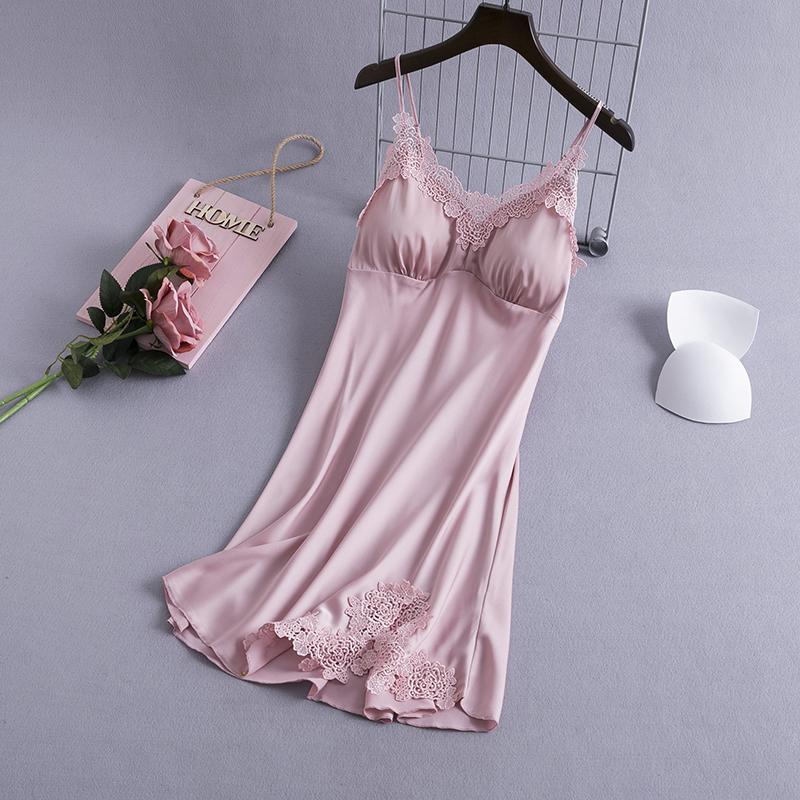 蕾丝吊带睡裙女夏冰丝性感带胸垫薄款2020年新款女士韩版诱惑睡衣