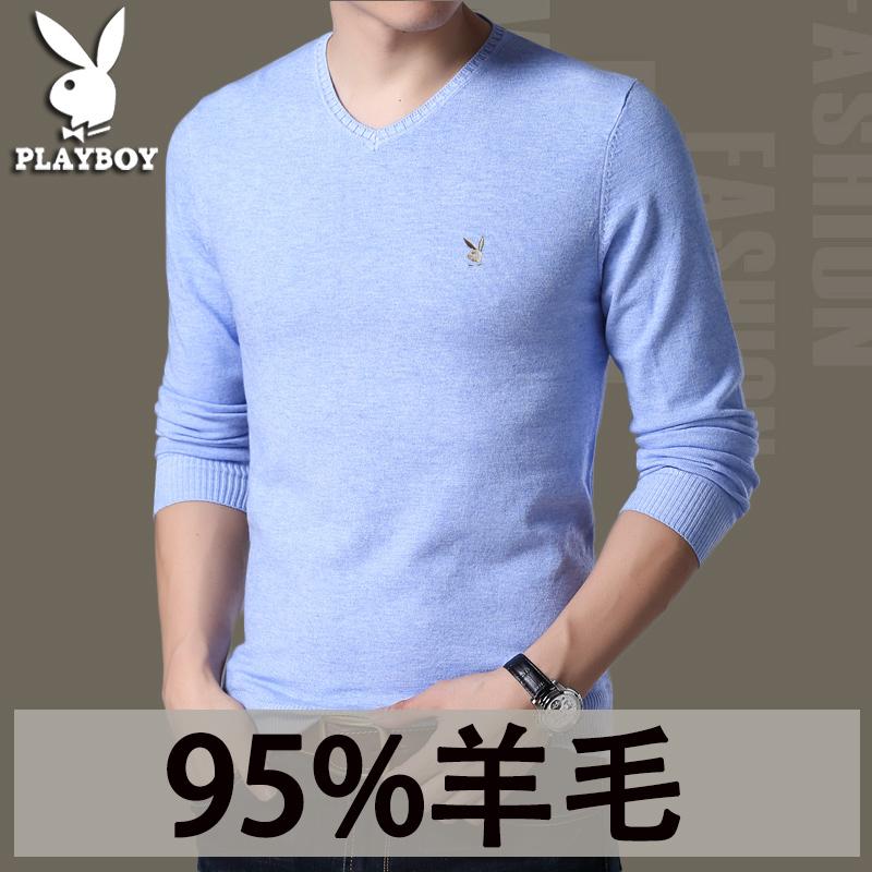 秋冬季韩版男士针织衫长袖t恤男 修身毛衣纯色羊毛衫潮流打底衫男