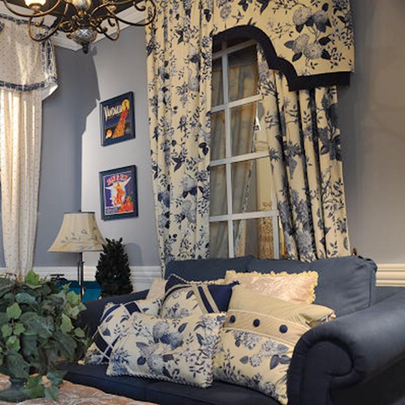 美国中式风格窗帘布卧室客厅棉质落地书房雅致窗帘定制