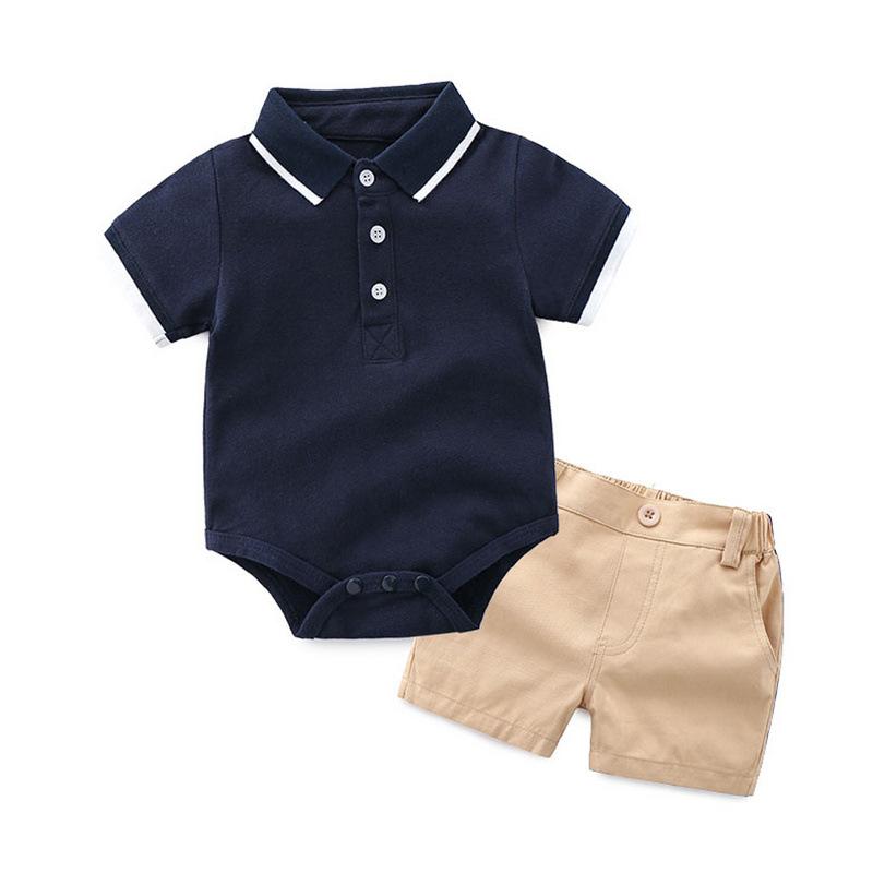 Summer boy handsome polo shirt baby gentleman short sleeve polo shirt polo shirt boy baby romper Lapel cotton shorts