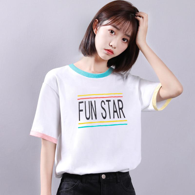短袖T恤女夏2019新款韩版学生可爱bf风宽松百搭学院风ins上衣体恤