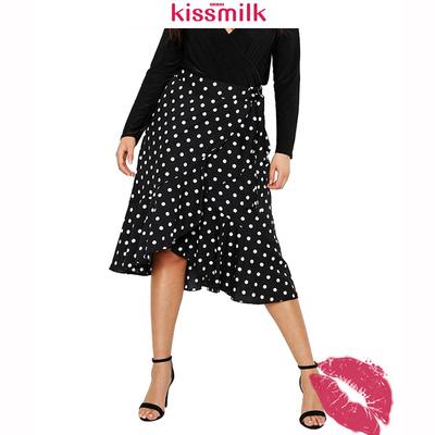 KISSMILK胖妹大码简约高腰系带裹身式垂坠荷叶边系带波点半裙女