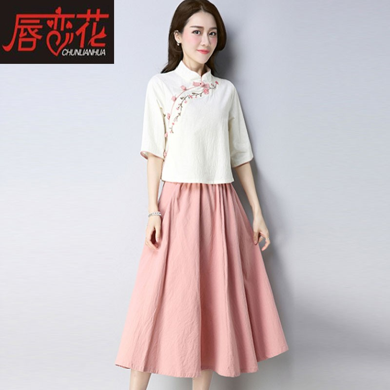 Spring and Autumn China Style Tang suit improved version Hanfu women's fashion Republic of China women's cotton and linen suit folk
