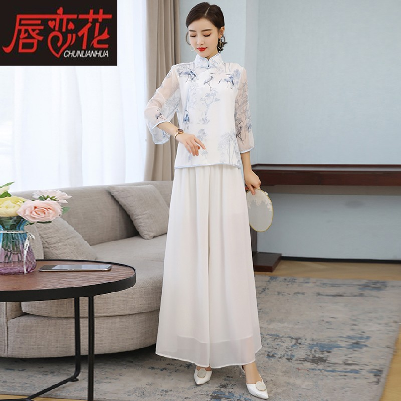 中国风唐装禅意复古女装禅服汉服茶服女改良旗袍雪纺盘扣上衣夏装