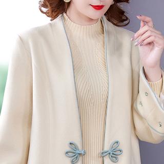 专柜撤回妈妈冬装毛呢外套2021年新款中老年女装洋气风衣呢子大衣