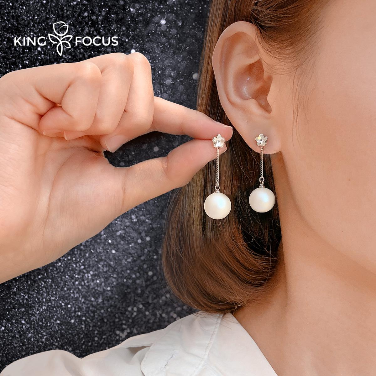 珍珠采用施华洛世奇元素耳环女纯银2020年新款潮长款耳坠气质耳饰图片