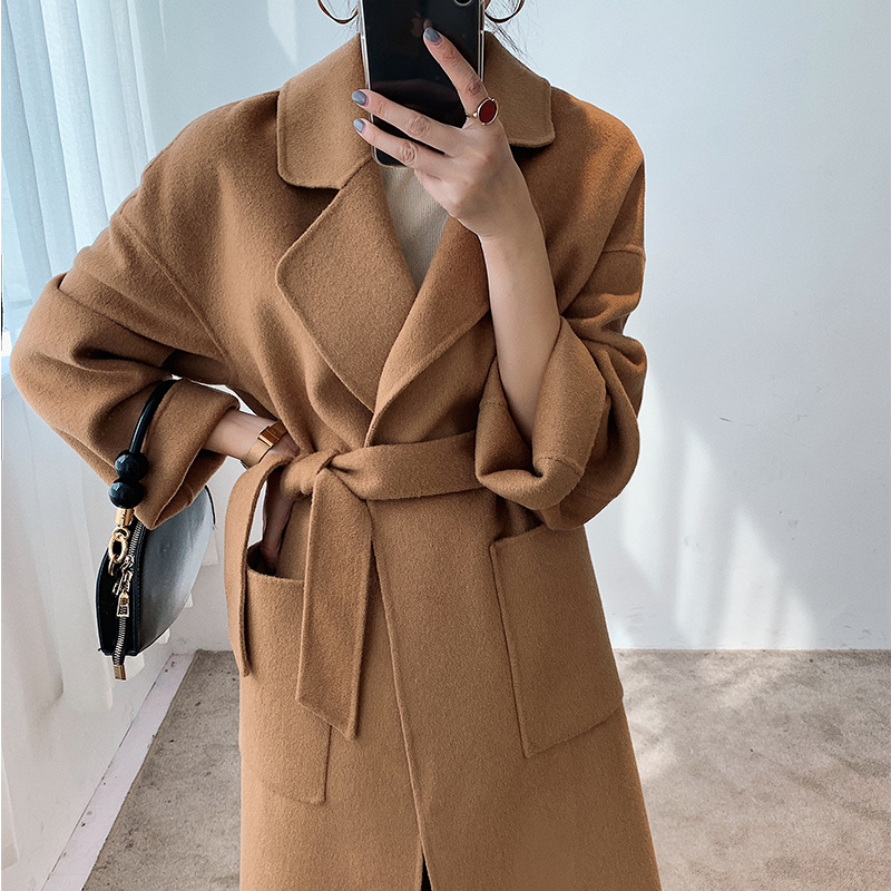 Autumn and winter 2019 new 100% wool thickened double-sided cashmere coat loose medium and long high-end tweed coat women