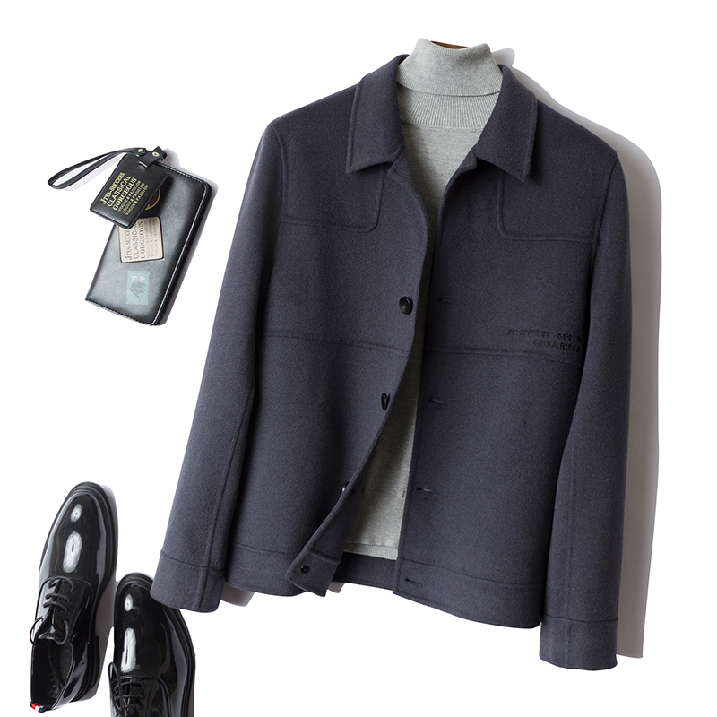 Autumn and winter new wool coat young mens Korean fashion casual jacket double faced Japanese slim wool coat