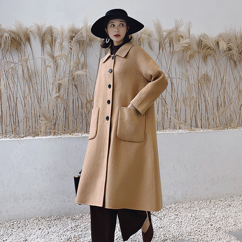 Double sided cashmere overcoat popular in autumn and winter of 2019 womens loose medium and long Korean 100% wool cape and tweed jacket