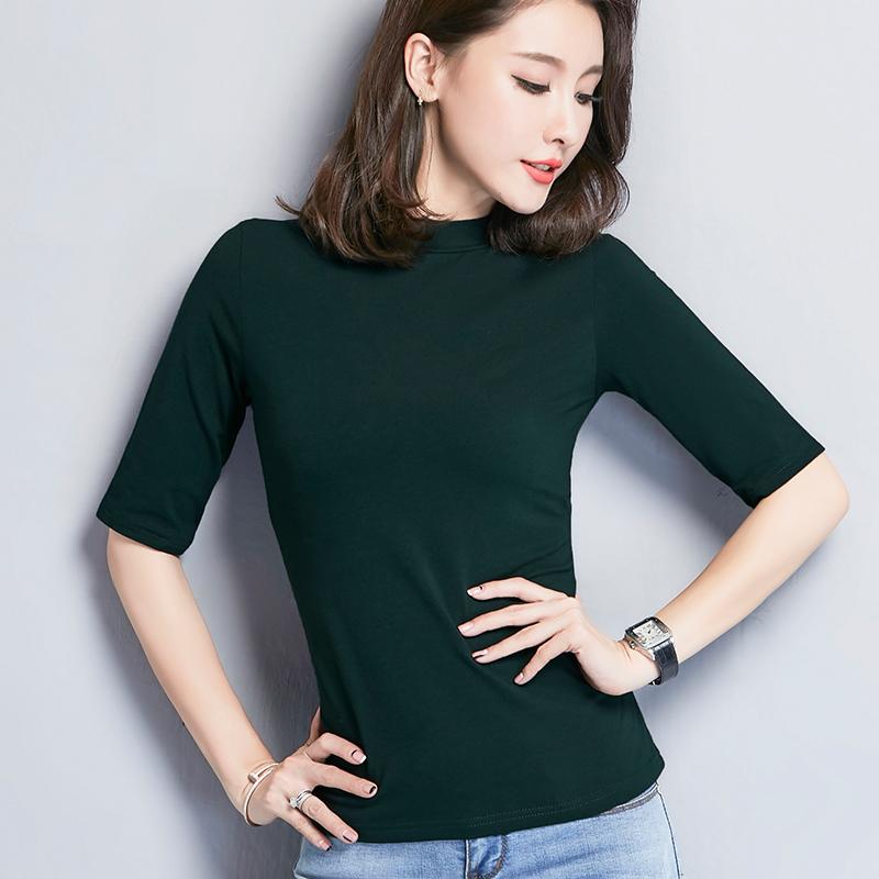 Pure cotton dark green half high collar bottoming shirt medium sleeve spring and Autumn New Womens top tight half sleeve T-shirt womens middle collar fashion