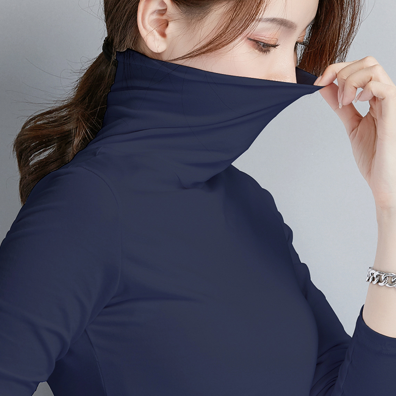 Navy top collar bottom coat womens Korean spring and autumn 2019 new slim fit and thin style with long sleeve womens T-shirt