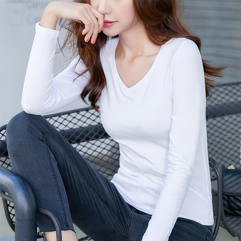 Early autumn V-neck top womens 2019 new slim thin white T-shirt womens long sleeve short autumn T-shirt