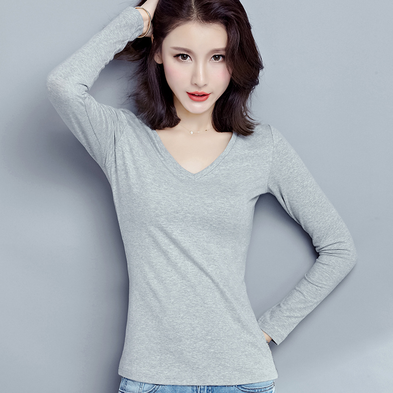 Cotton grey long sleeve T-shirt womens V-neck slim fit Korean chicken heart collar bottoming shirt autumn top womens fashion tight inside