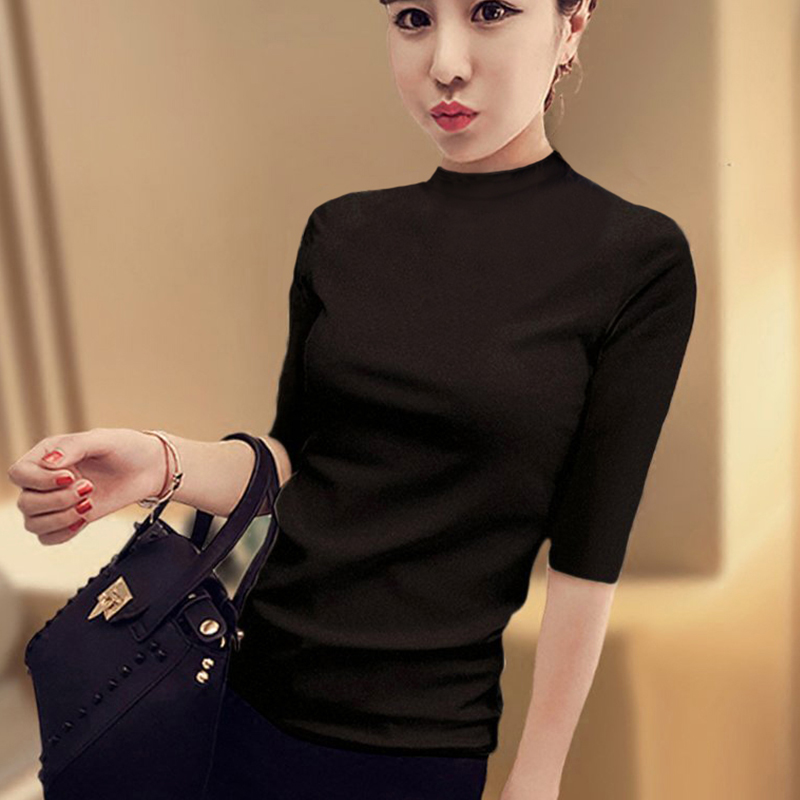 Mid sleeve top women pure cotton spring and autumn 2019 new half high collar black T-shirt womens five point sleeve bottoming shirt womens thin