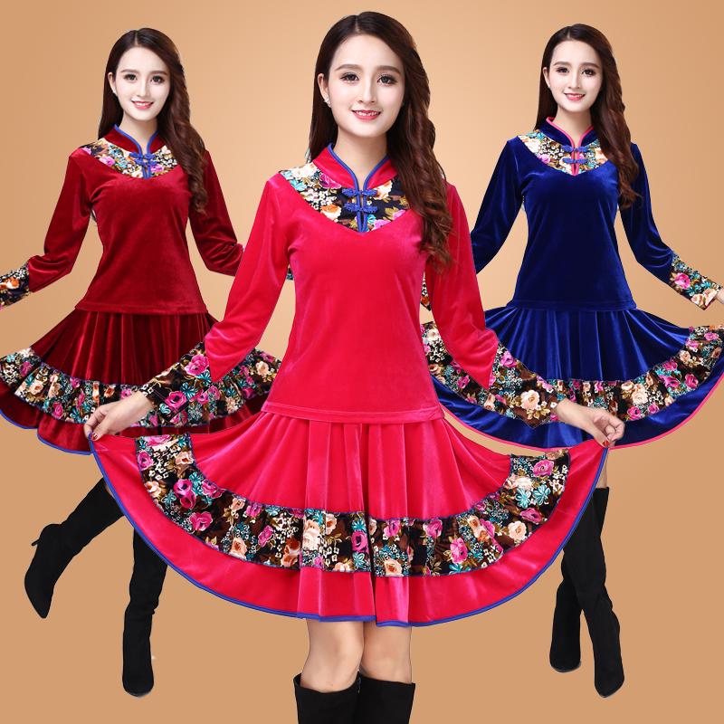 广场舞服装新款套装中老年金丝绒舞蹈服女成人演出服跳舞衣秋冬季
