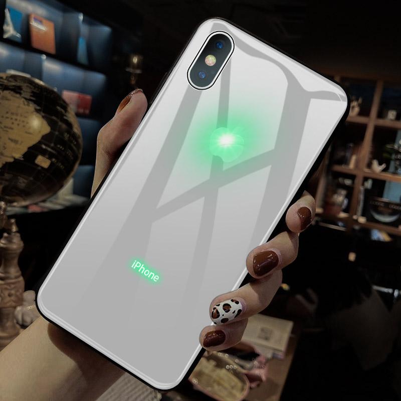 来电发光苹果x手机壳玻璃iphone xs max智能声控来电闪潮牌网红xr个性创意男女xmax新款会发光的苹果logo纯色