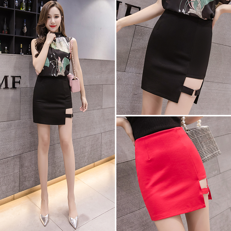 Half length skirt summer 2020 new womens super hot skirt Korean high waist versatile cut-out hip skirt short skirt
