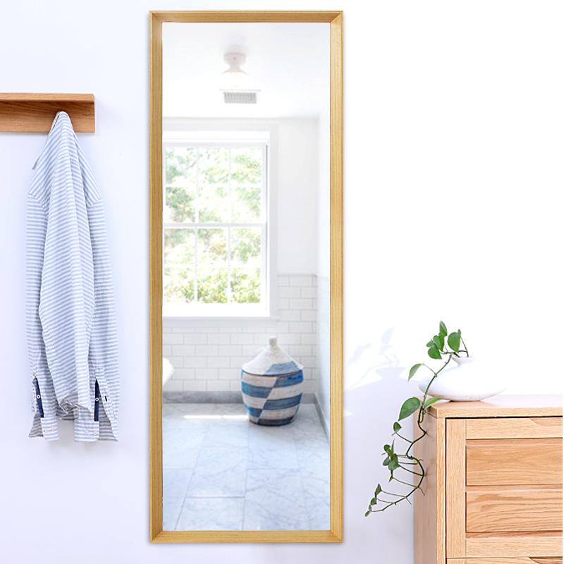 假一赔十实木壁挂镜子贴墙家用卧室风全身镜