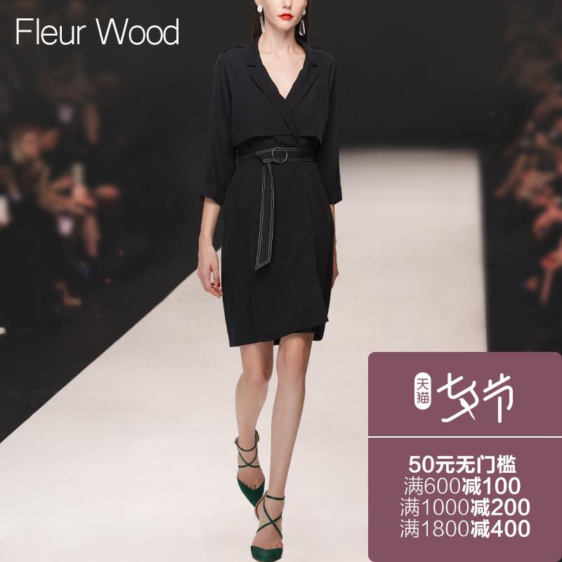FLEUR WOOD2017秋季新款女装欧美修身西装领七分袖中长款风衣外套