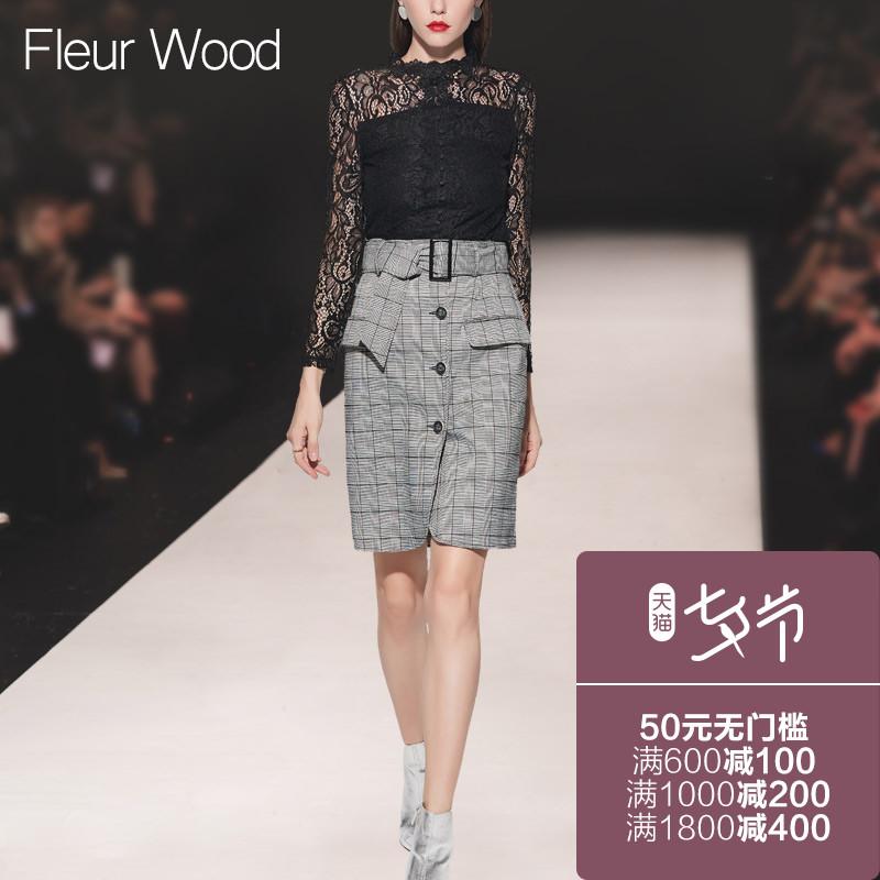 FLEUR WOOD2017秋季新款女装欧美潮气质修身显瘦镂空打底衫蕾丝衫