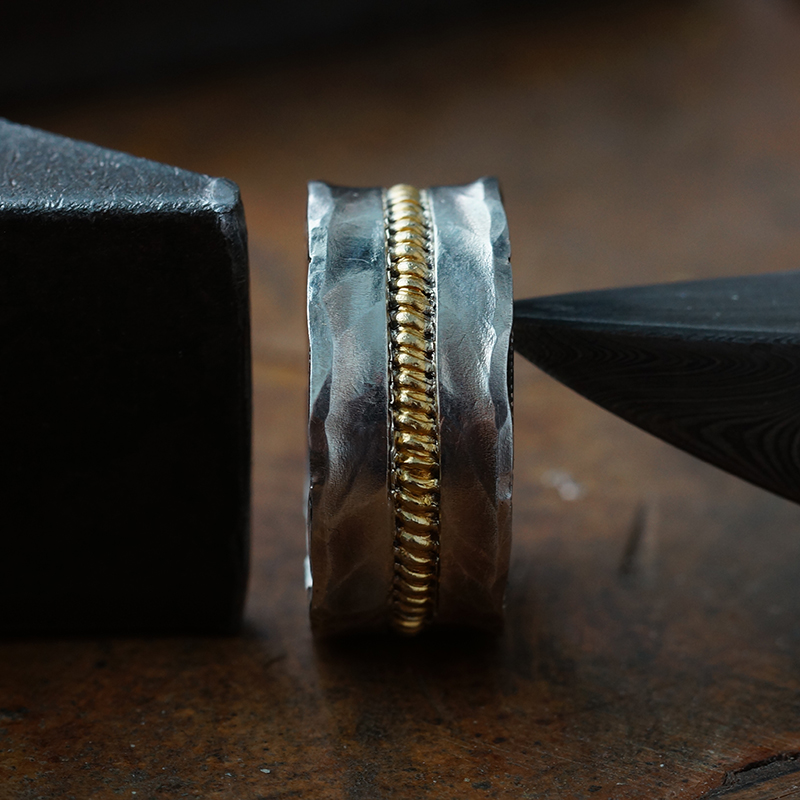 arkipelagus/偶屿天际线足金错银指环 复古民族风男闭口戒指图片