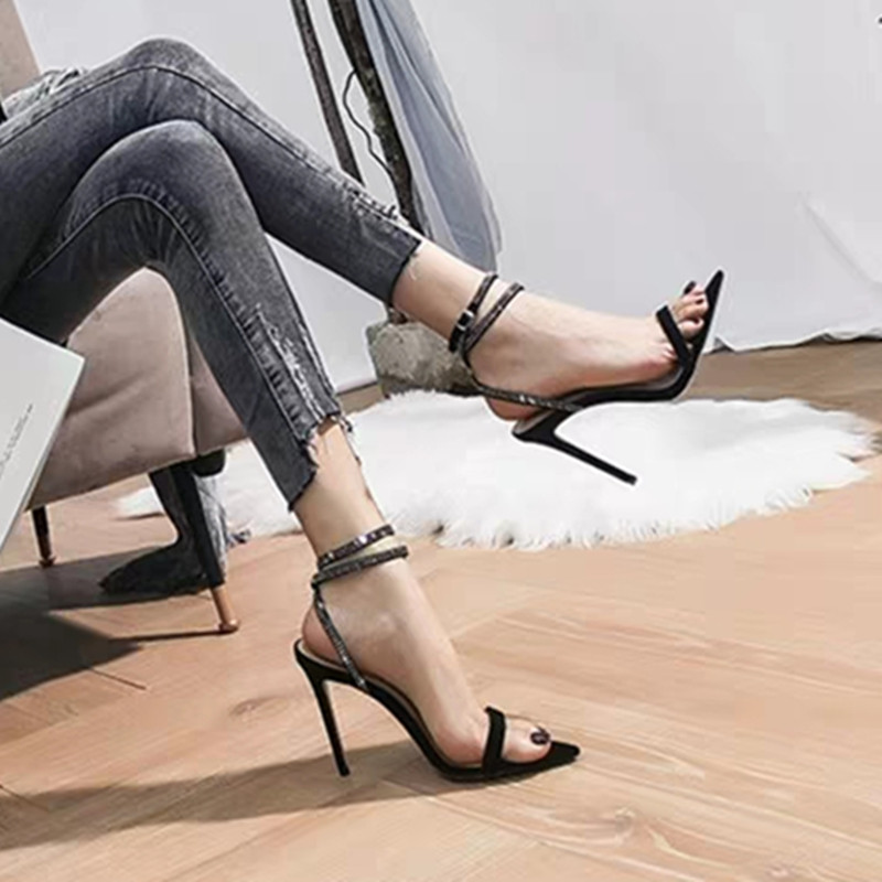 Spring and summer 2020 new diamond Suede Black pointed sandals sexy open toe one line high heel shoes