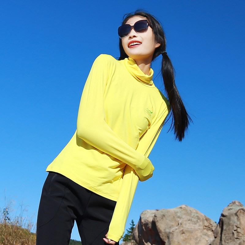 Sports outdoor womens fashion leisure slim slim Plush thick high collar warm long sleeve T-shirt foot bottoming shirt