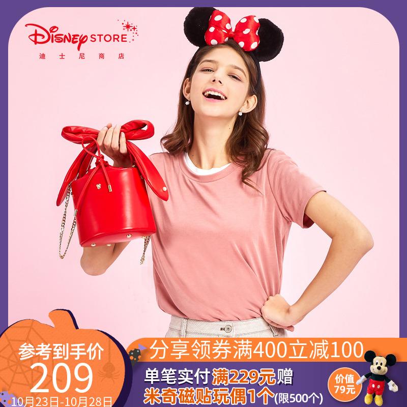 迪士尼时尚 潮流米妮蝴蝶结珍珠钉单肩包手提水桶包新品女Disney