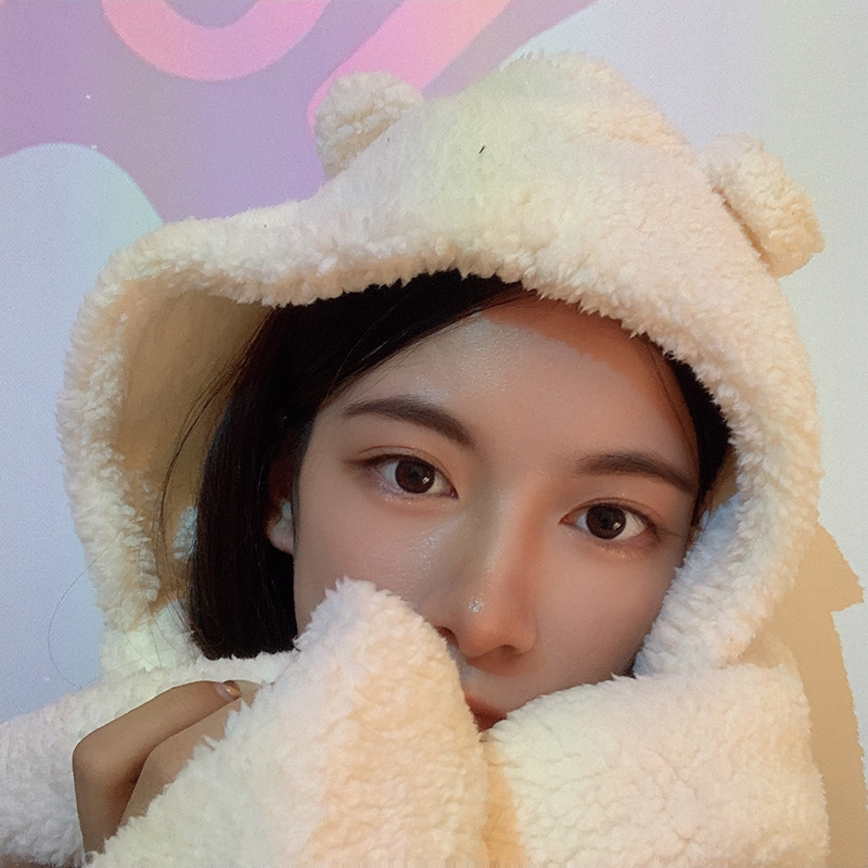 Japanese little bear ears sweet and lovely student hat scarf integrated ear protection hat Pullover hat Korean warm Plush