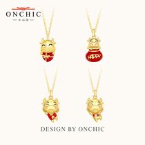 Onchic本命年新年礼物牛纯银项链女金牛吊坠生日饰品