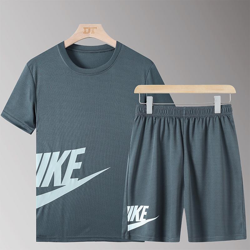 夏季运动套装男篮球宽松足球跑步夜跑训练服速干套装大码健身衣服